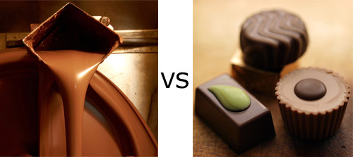 Chocolate vs a chocolate - copyright Eric Hossinger https://www.flickr.com/photos/hozinja/ and Moyan_Brenn https://www.flickr.com/photos/aigle_dore/
