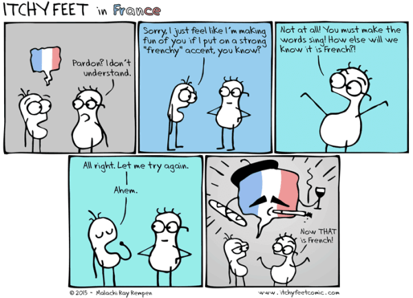 Francophonics cartoon - copyright Itchy Feet http://www.itchyfeetcomic.com/2015/07/francophonics.html