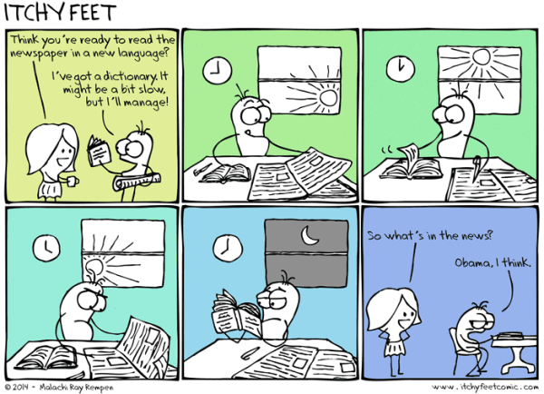 Vignetta progresso lento - copyright Itchy Feet http://www.itchyfeetcomic.com/2014/12/slow-going.html