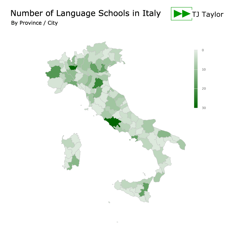 Number of language schools in Italy by province or city