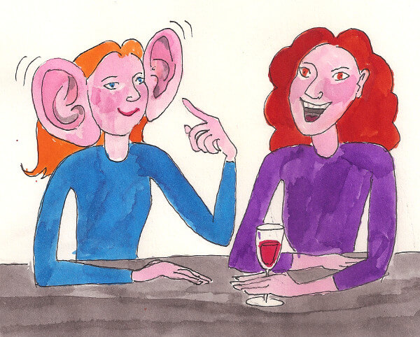 Illustration of a person with large ears having a conversation with another person