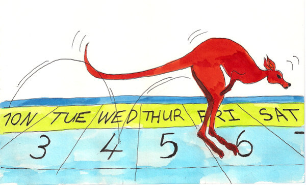 Kangaroo jumping from one day to another day on a calendar