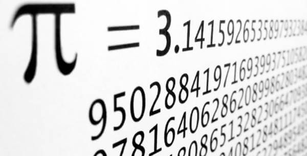 The value of pi to many decimal places