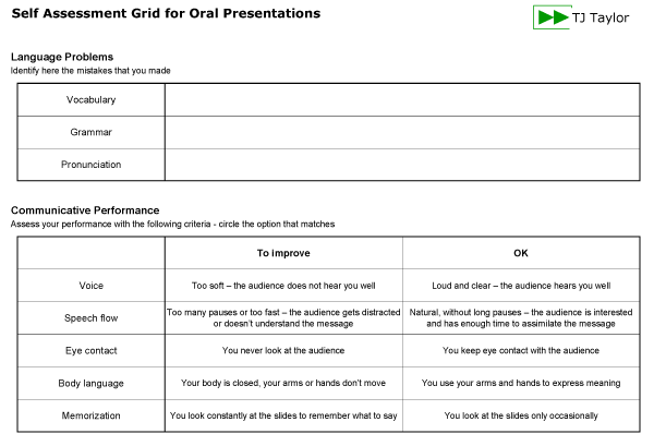 An example self assessment grid for presentations