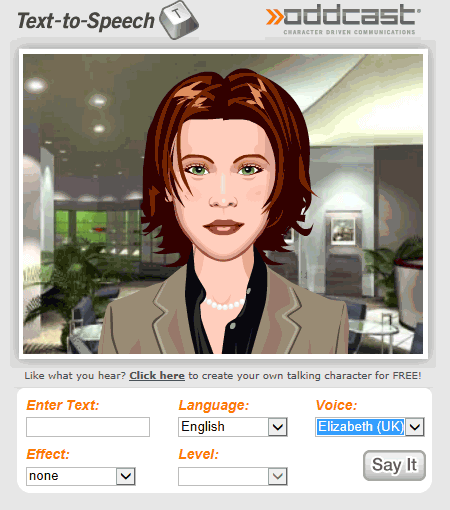 The Oddcast demonstration page with an avatar to speak with various English accents