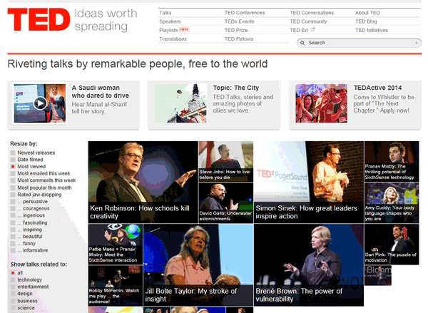 Screenshot of the TED.com website