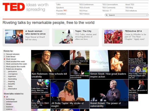 Screenshot of the TED.com website