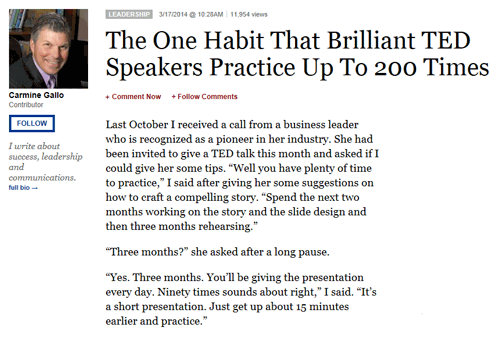Screenshot of the advice for TED speakers article - read it on Forbes