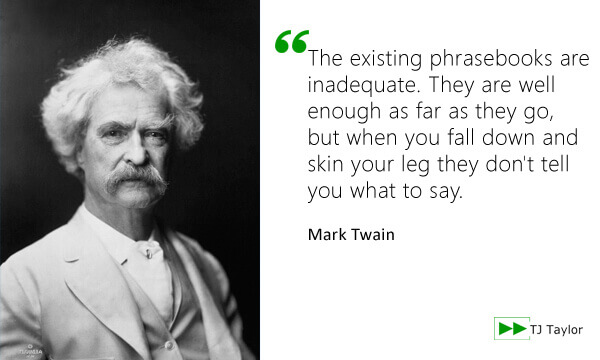 The existing phrasebooks are inadequate. They are well enough as far as they go, but when you fall down and skin your leg they don't tell you what to say - Mark Twain