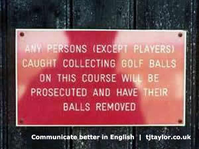 No balls golf course sign - communicate better in English campaign