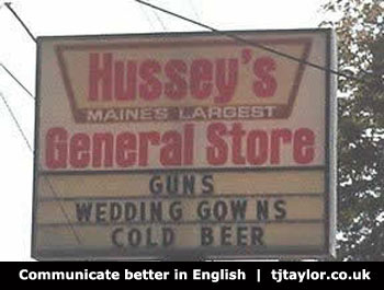 Hussey's general store sign - communicate better in English campaign